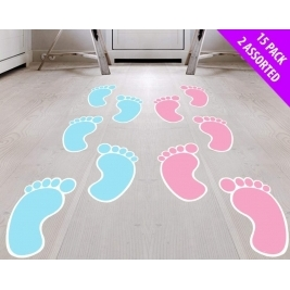 Pink Baby Foot Prints for Baby Shower Party - 15pc