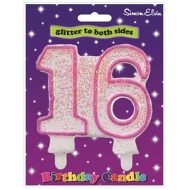 Pink Number 16 Glittered Birthday Candle