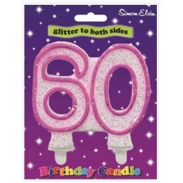 Pink Number 60 Glittered Birthday Candle