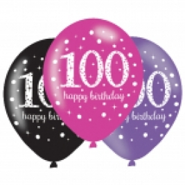 Pink Sparkling Celebration 100th Birthday Latex Balloons - Pack of 6