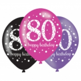Pink Sparkling Celebration 80th Birthday Latex Balloons - Pack of 6