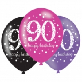 Pink Sparkling Celebration 90th Birthday Latex Balloons - Pack of 6