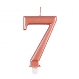 Rose Gold Metallic Number 7 Candle