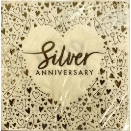 Silver Anniversary Foil Stamped Lunch Napkins 3ply