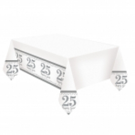 Silver Anniversary Plastic Tablecover