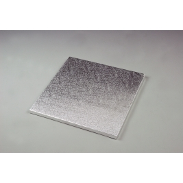 Silver Embossed Square 12mm Thick Cake Drum - 26cm/10 Inch