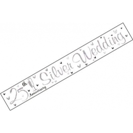 Silver Wedding Anniversary Wall Banner