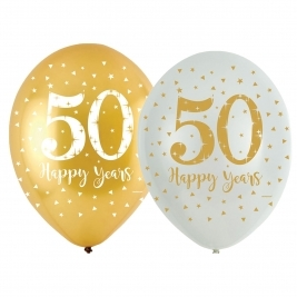 Sparkling Gold Anniversary 4 Sided Latex Balloons 11