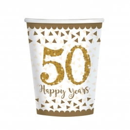 Sparkling Golden Anniversary Paper Cups 266ml