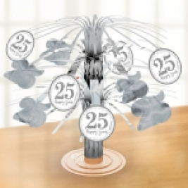 Sparkling Silver Anniversary Foil Centrepieces