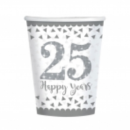 Sparkling Silver Anniversary Paper Cups 266ml