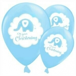 Sweet Baby Elephant Blue Christening Latex Balloons Pearlescent 2 Sided Print 50pk
