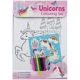 UNICORNS - A4 Colouring Set (with Stickers)