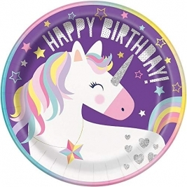 Unique Party 72495 - 23cm Unicorn Party Paper Plates, Pack Of 8 - 72495