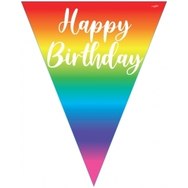 Rainbow Happy Birthday Party Bunting - 11 flags  3.9m