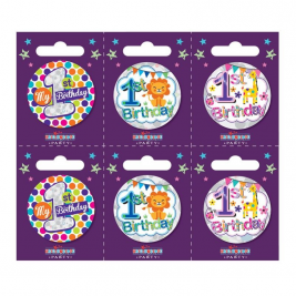Age 1 Small Badges Pack of 6