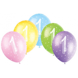 AGE '1' SUPERPRINT PEARLISED ASSORTED COLOR BALLOONS PACK OF 5