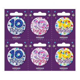 Age 10 Small Badges (6 assorted per perforated card) (5.5cm)  (6)
