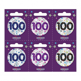 Age 100 Small Badges Pack of 6