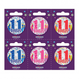 Age 11 Small Badges Pack of 6