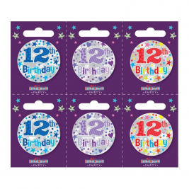 Age 12 Small Badges (6 assorted per perforated card) (5.5cm)