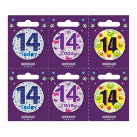 Age 14 Small Badges (6 assorted per perforated card) (5.5cm)