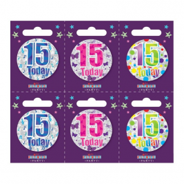 Age 15 Small Badges Pack of 6