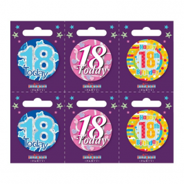 Age 18 Small Badges Pack of 6