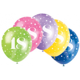 AGE '18' SUPERPRINT PEARLISED ASSORTED COLOR BALLOONS PACK OF 5