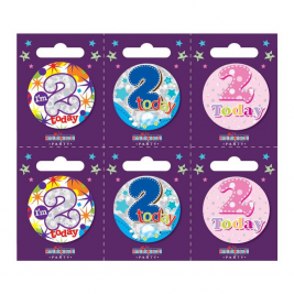 Age 2 Small Badges Pack of 6