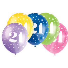 AGE '21' SUPERPRINT PEARLISED ASSORTED COLOR BALLOONS PACK OF 5