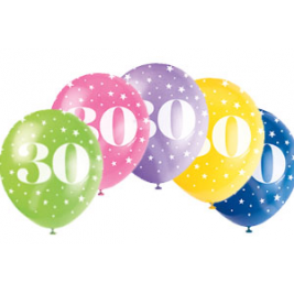 AGE '30' SUPERPRINT PEARLISED ASSORTED COLOR BALLOONS PACK OF 5