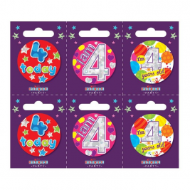 Age 4 Small Badges (6 assorted per perforated card) (5.5cm)