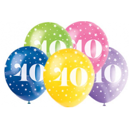 AGE '40' SUPERPRINT PEARLISED ASSORTED COLOR BALLOONS PACK OF 5