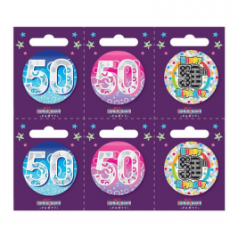 Age 50 Small Badges Pack of 6
