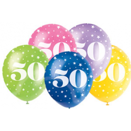AGE '50' SUPERPRINT PEARLISED ASSORTED COLOR BALLOONS PACK OF 5