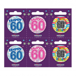 Age 60 Small Badges Pack of 6