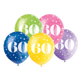 AGE '60' SUPERPRINT PEARLISED ASSORTED COLOR BALLOONS PACK OF 5