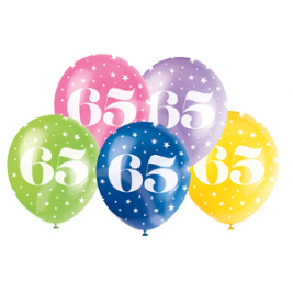 AGE '65' SUPERPRINT PEARLISED ASSORTED COLOR BALLOONS PACK OF 5