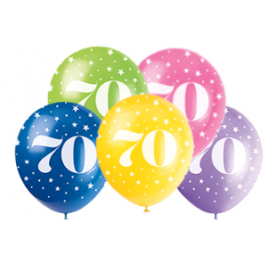 AGE '70' SUPERPRINT PEARLISED ASSORTED COLOR BALLOONS PACK OF 5