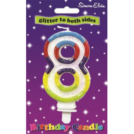 Age 8 Multi Colour Birthday Cake Candle Number 8 Cake Decoration (Se) (Sold in 6s)