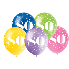 AGE '80' SUPERPRINT PEARLISED ASSORTED COLOR BALLOONS PACK OF 5