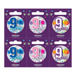 Age 9 Small Badges (6 assorted per perforated card) (5.5cm)  (6)