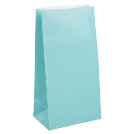BABY BLUE SOLID COLOUR PAPER PARTY BAGS - pack of 12