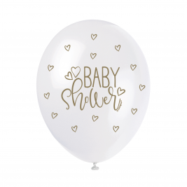 BABY SHOWER GOLD COLOR PRINTED BALLOONS  PACK OF 5