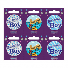 Birthday Boy Small Badges Pack of 6