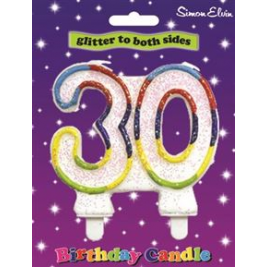 Birthday Candle Milestone Number 30 (Sold in 6s)
