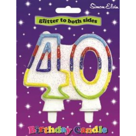 Birthday Candle Milestone Number 40 (Sold in 6s)