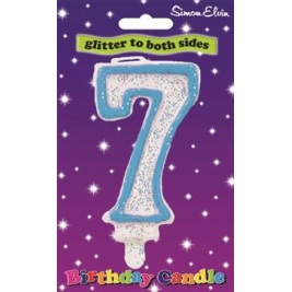 Birthday Candle Number 7 Blue, White number glittery candle with a blue outline. (Sold in 6s)