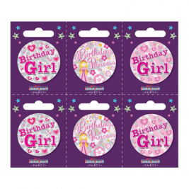 Birthday Girl Small Badges Pack of 6